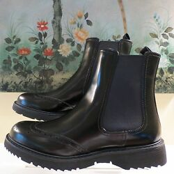 Nwb Womens Authentic Prada Black Leather Ankle Boots Size 40.5/10.5