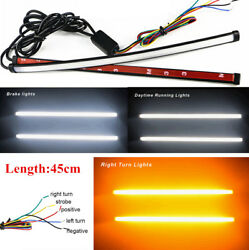 Car DRL LED Knight Rider Light Strip Tube Sequential Turn Signal 45cm Dual Color