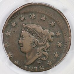 1818 Pcgs Vf 35 10 Off-center Matron Or Coronet Head Large Cent Coin 1c