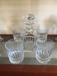 4 Baccarat Crystal Harmonie Whiskey Glasses / Tumblers  3 1/8 And Decanter