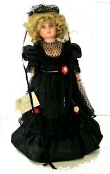 Gothic Victorian Porcelain Doll In Black Mourning - 1987 Betty Jane Musical Doll
