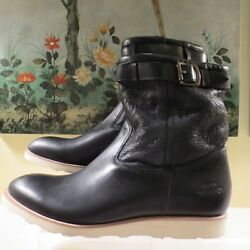 Nwb Mens Paul Smith Red Ear Black Leather Shearling Trapper Boots Uk 8/eu42/us9