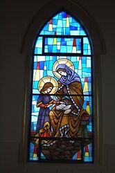 + Nice Stained Glass Church Window St. Anne With Child Mary + Chalice Co.