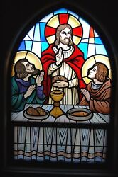 + Nice Stained Glass Church Window Jesus, The Last Supper + Chalice Co. 10