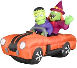 7 Ft Airblown Inflatable Witch And Monster In A Orange Car With Sound , New