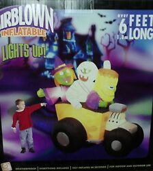 6 Ft Airblown Inflatable Witch, Mummy And Monster In A Hot Rod , Brand New