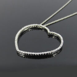 Gerard 1.10ct Perfect Cut Diamond Micro Pave Large Heart 18k White Gold Necklace