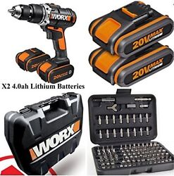 Worx 20v Cordless Lithium Combi Drill X2 4.0ah Batteries Complete Kit