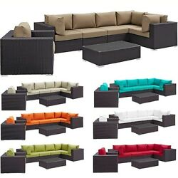 Outdoor Patio Pool Rattan Sectional Sofa Chair Coffee Table Set 7 Color Choices