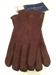Gent's Leather Wool And Cashmere Texting Gloves Sz L Brown New W Tags