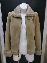 Wilsons Leather Womens Suede Leather Faux Fur Shearling Jacket Size Medium