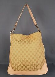 Gucci Leather Canvas Tote Hobo Shoulder Bag Guccissima  Womens Brown Large