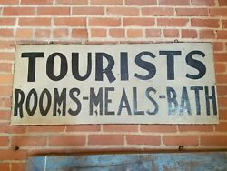 Antique Double Sided Tourist Trade Sign Rooms Bed Bath From Adirondack