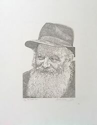 """Guillaume Azoulay The Rebbe Of Chabad"""" Etching On Paper H/signed And Numbered Coa"""
