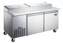 Saba 67 Stainless Steel Commercial Pizza Prep Table And Food Storage 9 Pans