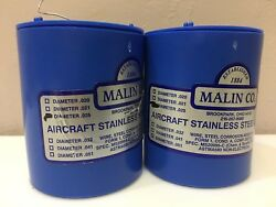 2 Rolls Of .025 Malin Aviation S/s Aircraft Safety Wire 1lb Ea. Roll W/ Certs