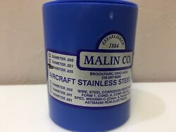1 Roll Of .025 Malin Aviation S/s Aircraft Safety Wire 1lb Roll With Certs