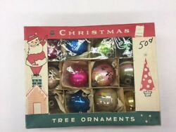 Vintage Boxes Ofshiny Poland Glass Christmas Ornament Lot Of 42