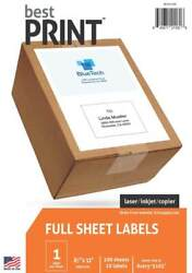 Best Print Full Sheet Shipping Address Labels 8-1/2 X 11 100 Labels/pack