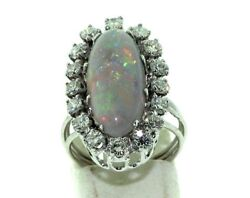 Antique 1.60ct Diamond And 3.40ct Opal 14kt White Gold Ring Size 5