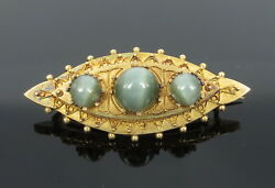 Antique 6.50ct Natural Chrysoberyl Cat's Eye And 14k Yellow Gold Studded Brooch