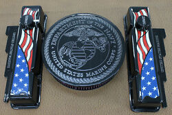 Custom United State Marine Core Chevy Sb Tall Valve Cover American Flag Set