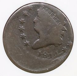 1814 Anacs Vg 8 Off-center Classic Head Large Cent Coin 1c