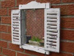 Vintage French Country Wall Mirrors Shelf Window Shutters Bathroom Home Décor