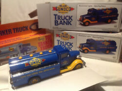 Blue Sunoco Collectible Toy Truck Bank2 And Tanker-19931994-jmt Replicas-marx