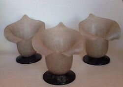 Vintage Sarried Ltd. Glass Art Candle Holders Sconces Mid Century Lilly Rare