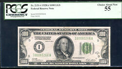 Fr 2151-i 1928-a 100 Lgs Light Green Seal Frn Federal Reserve Note Pcgs Au-55