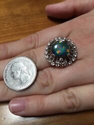 Vintage Black Opal Surrounded By Diamonds, Dinner Ring
