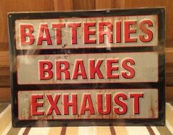 Batteries Brakes Exhaust Garage Shop Mancave Gas Oil Vintage Look Ford Wall