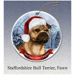Staffordshire Bull Terrier Fawn Howliday Porcelain China Dog Christmas Ornament