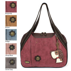 Chala Large bowling Toteshoulder bags with Lovely Pet's Key Fob-Burgundy Red