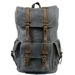 Men Women Waterproof Canvas Backpack Travelling Shoulder Bag Laptop Schoolbag