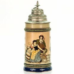 Hr Hauber And Reuther 401 Antique German Etched Lidded Beer Stein - Flirting Scene