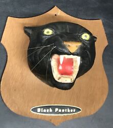 Vintage 1960's Black Panther Wall Plaque Art Head