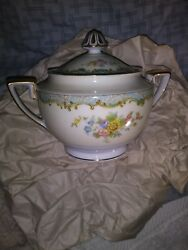 Vintage Noritake China Set Occupied Japan Blue/gold/floral 6 Cups/plate And Suga