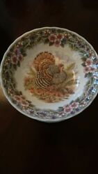 New Myott Queenand039s Thanksgiving Turkey 9 1/2 Round Serving Bowl Rare Full Color