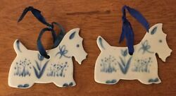 Two Vintage RUSS Ceramic Scottie Dog Blue and White Scotty Dog Ornament