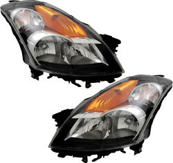 HID Headlights Headlight Assembly w/Bulb Set Pair for 08-09 Nissan Altima Sedan