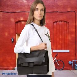 Narciso Rodriguez Designer Black Leather & Suede Jaq Shoulder Bag ~MRSP $1995.00 $1,700.00