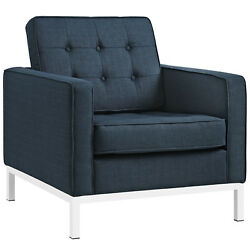 Florence Knoll Style Fabric Armchair in Azure