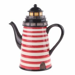 Beacon Lighthouse Hand-painted Ceramic Teapot, By Blue Sky Ceramics, 9 Tall