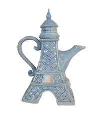 Eiffel Tower Hand-painted Ceramic Teapot, By Blue Sky Ceramics, 7.75 Tall