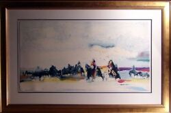 Earl Biss Bringing The Children Home From Star School With Custom Frame Signed