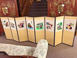 Vintage Japanese 8 Panel Embroidery Screen