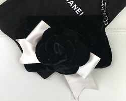 NEW CHANEL Black Velvet Quilted Camellia Ribbon Wristlet Evening Bag Chain