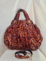 NEW WITH TAGS GUCCI Brown Tortoise Patent Leather HYSTERIA Handbag
